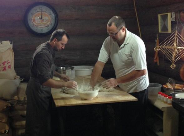 Preparing the bread dough