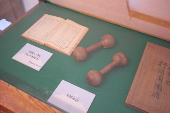 Wooden dumbbells! I wonder how heavy they are. Notice the diagrams of exercises in the book to the left.