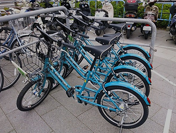 Rental bikes at Matsumoto Station bicycle parking lot