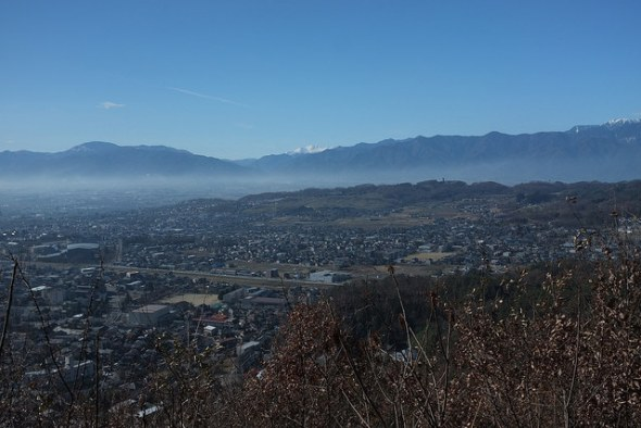 Matsumoto with a snowy Mt. Norikuradake above