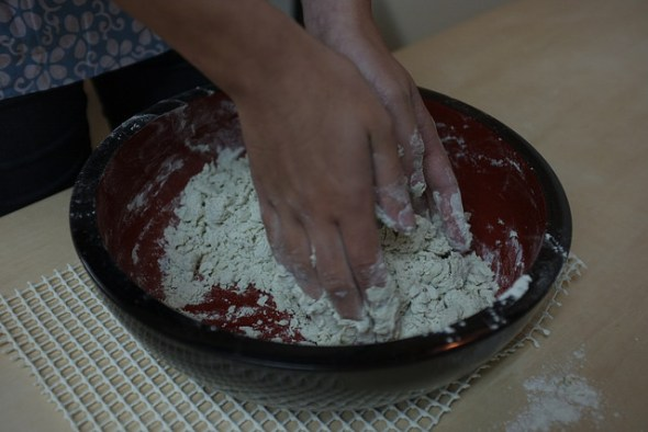 Rubbing together the flour