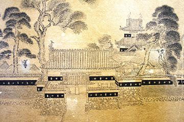 紙本墨画松本城旧景図」の一部