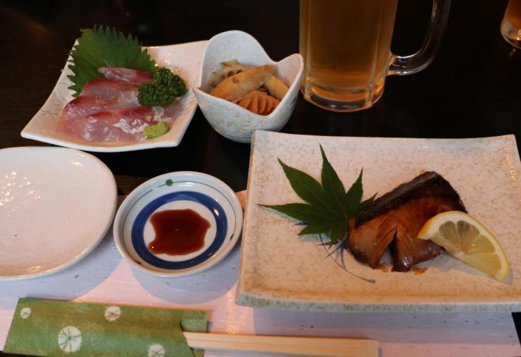 刺身と焼き魚そして破竹の子