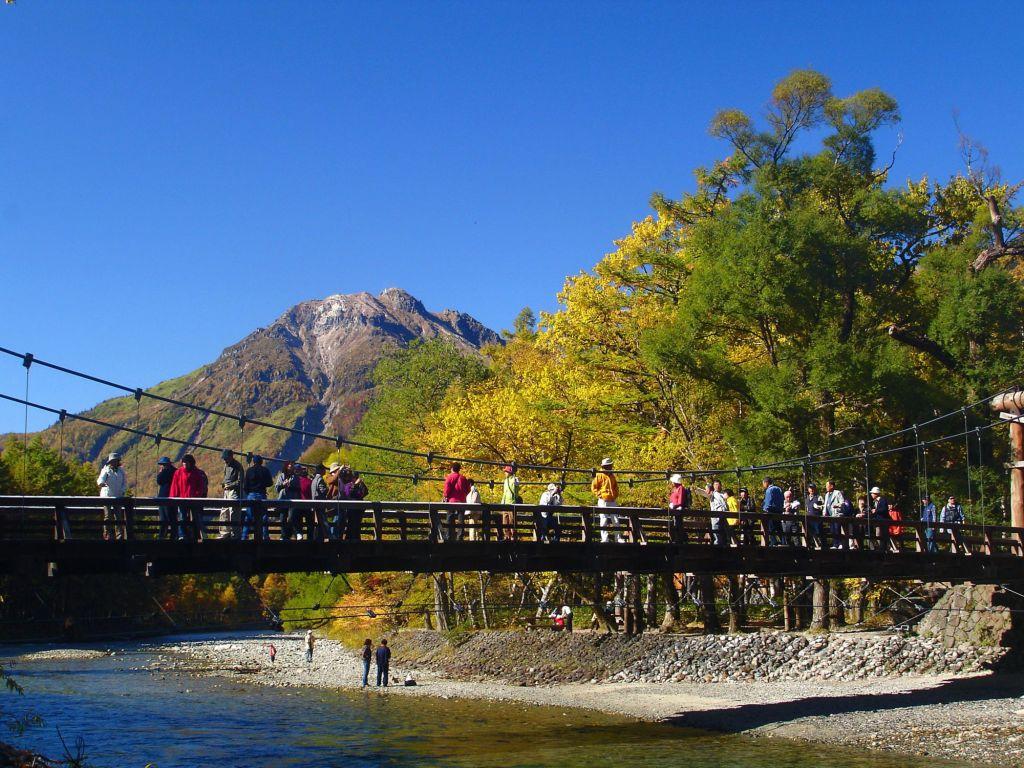 Kamikōchi Kappa-Brücke und Umgebung
