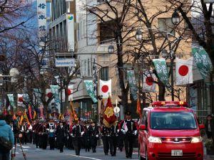 新春 800人華やかな分裂行進 松本市消防出初式