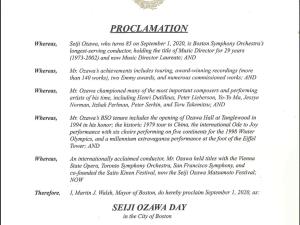 2020年9月1日を Seiji Ozawa Day (小澤征爾の日)に認定   ボストン市