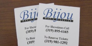 Photo of 2 Bijou Movie Theater Tickets with Logo Phone Number
