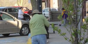 Photo of sweeping the streets during Clean Up Day Mt Vernon 2014