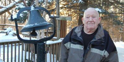 Jim Gunn and the historic Abbe Creek School Bell
