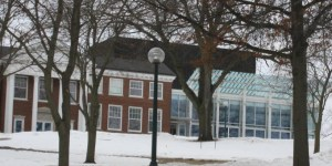 Winter view of the outside of Cornell College's Armstrong Hall & Youngker Hall