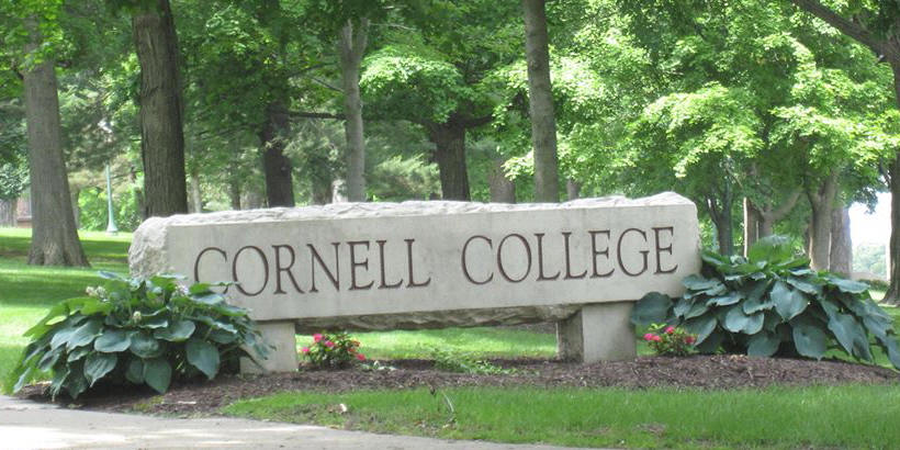 Cornell College Campus Sign during the summer
