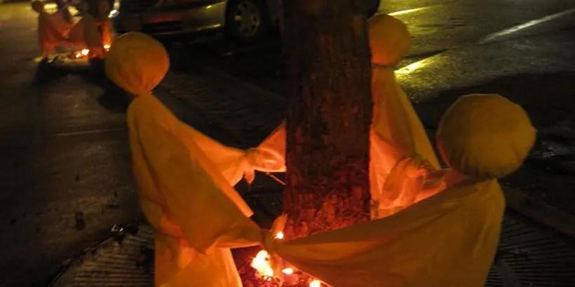 Halloween Ghost decorations on Main Street in Lisbon Iowa