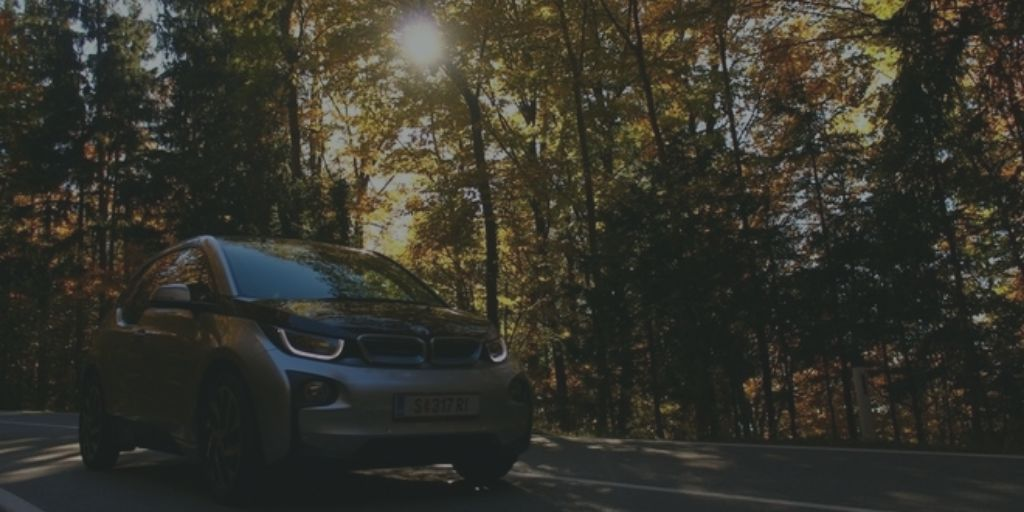 car driving through trees with sun in the background