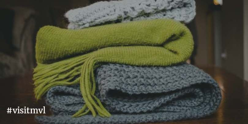 Stack of knit scarves