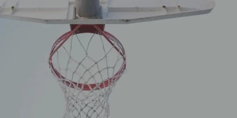looking up at basketball hoop