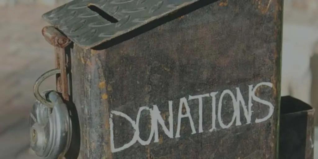 Close up of donation box