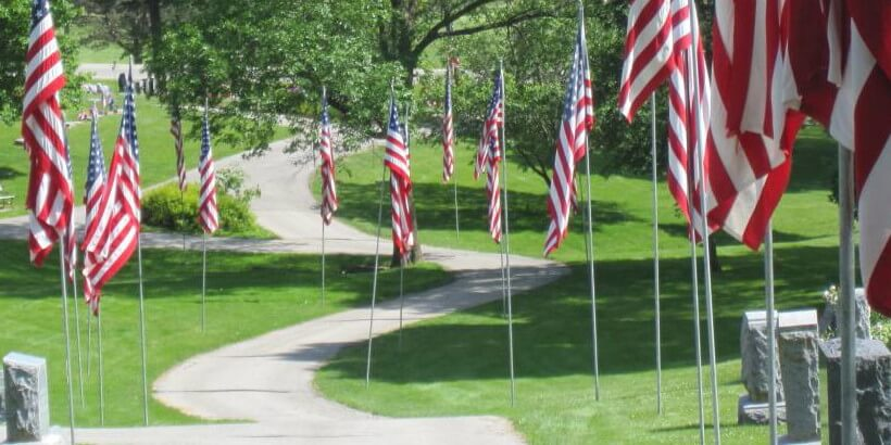 View of Mt Vernon Cemetary Flags