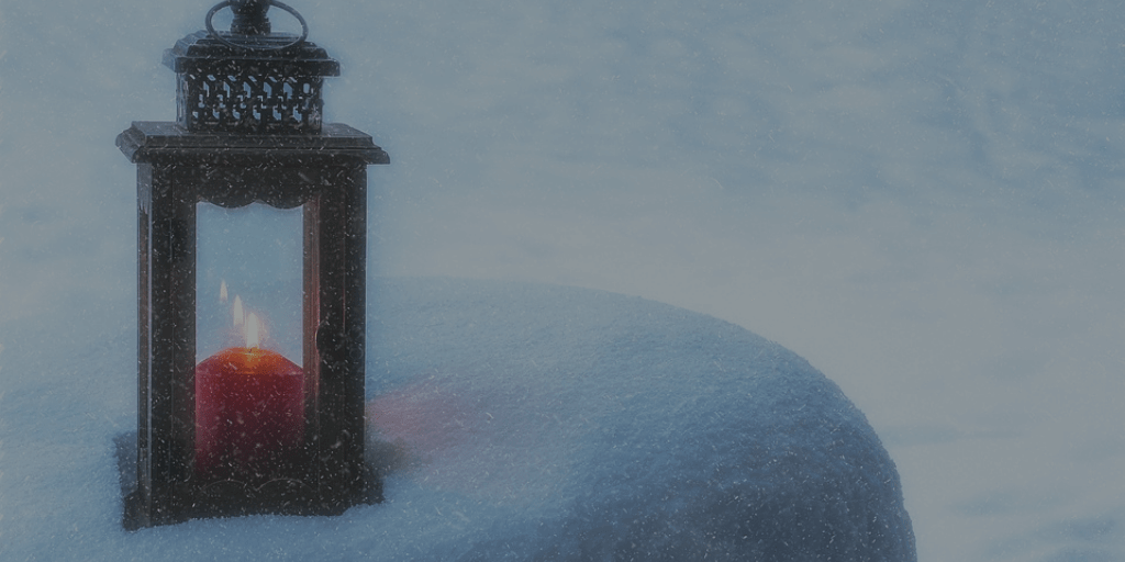 Red Candle in Latern with Snow