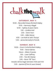 2018 Chalk the Walk Music Schedule