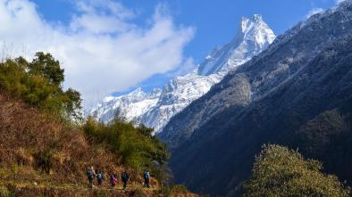 Annapurna range where you can see the hill covered half with the snow and half full of greenery. The circuit is very famous for trekking, white water rafting with full accomodation and restaurants in every 5-10 miles.