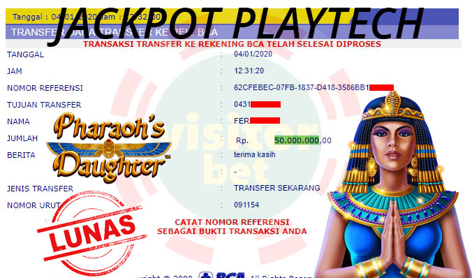 Pemenang Playtech Slot Game Sabtu 04 Januari 2020