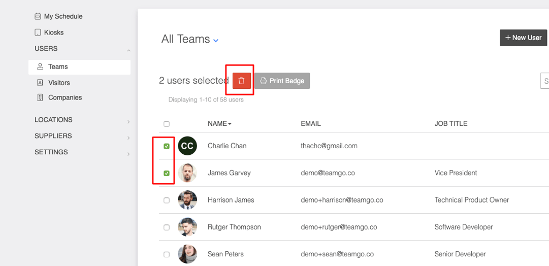 how to delete a team member