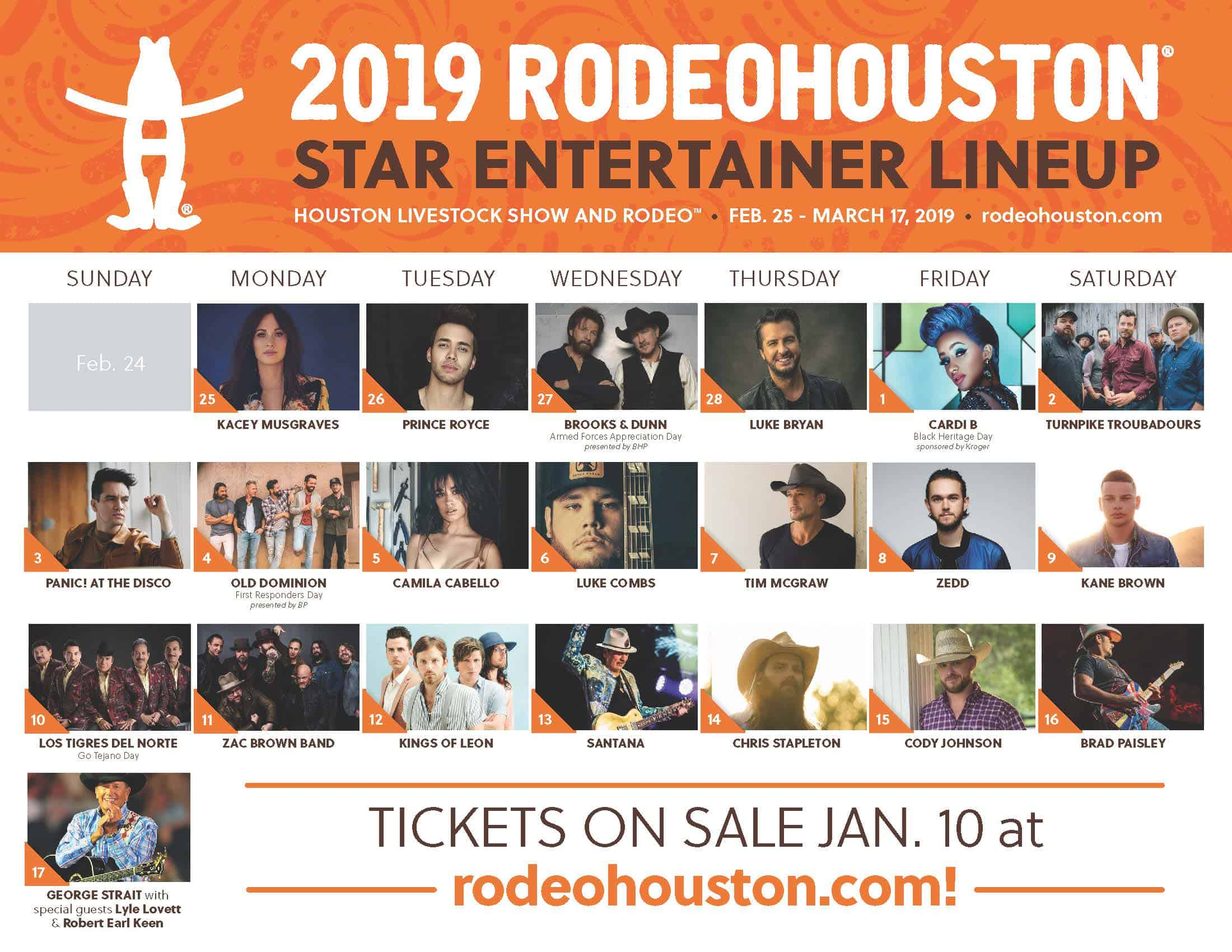 Houston Rodeo Calendar 2020 Rodeo Houston's 2019 Official Concert Lineup Announced   Pearland
