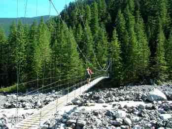Suspension bridge over the Carbon River © Craig Romano