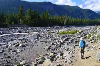 Hiker on Wonderland Trail approaching the Nisqually River © Craig Romano