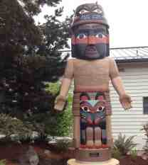 Greeters at Jamestown S'klallam Tribe's Carving Shed