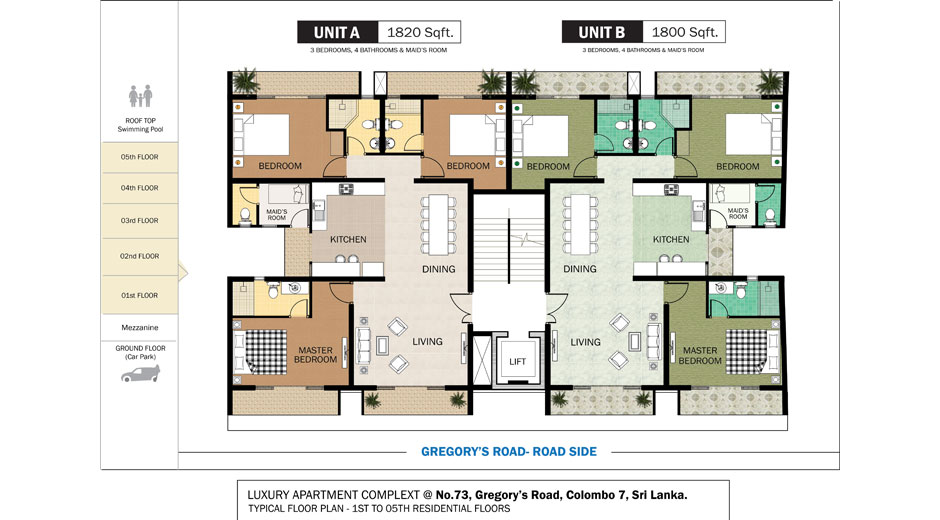 Apartment in colombo gregory s road real estate visit for Apartment plans in sri lanka