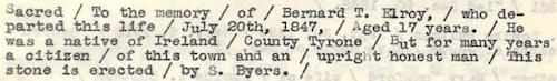 Elroy, Bernard T. Epitaph