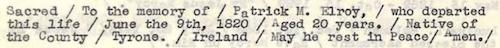 Elroy, Patrick M. Epitaph