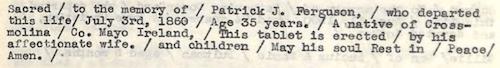 Ferguson, Patrick J. Epitaph