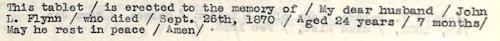 Flynn, John L. Epitaph