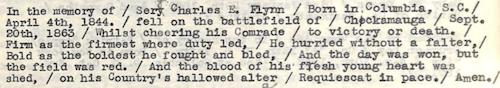 Flynn, Serg. Charles E. Epitaph