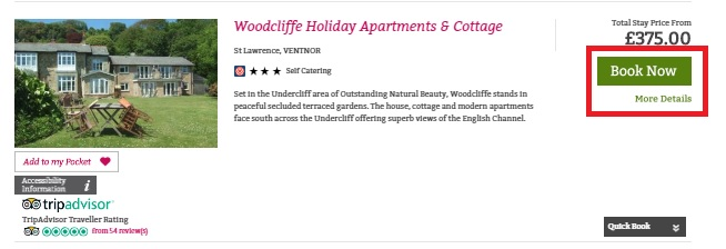 Availability or Online Booking or Directbooking bolt on - image of Woodcliffe Holiday apartments example