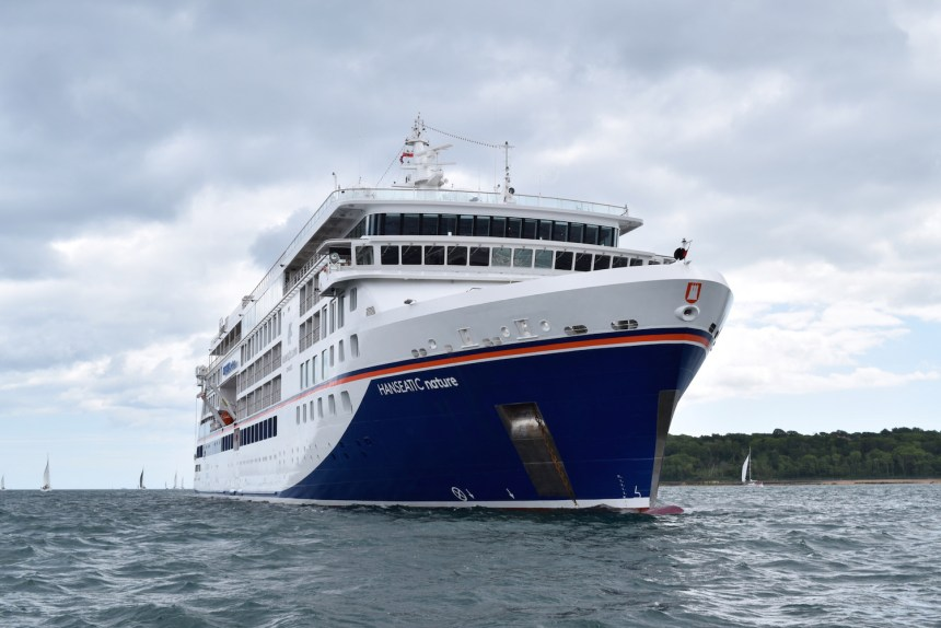 Hanseatic Nature cruise ship on maiden voyage off Cowes Isle of Wight