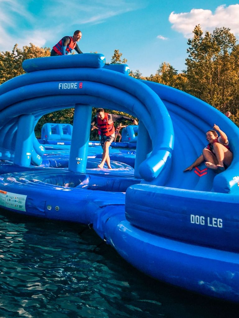 Aqua Park image to be built at Tapnell Farm. People sliding on a tube