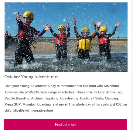 e-newsletter featured box- example image of adventure activities featured box