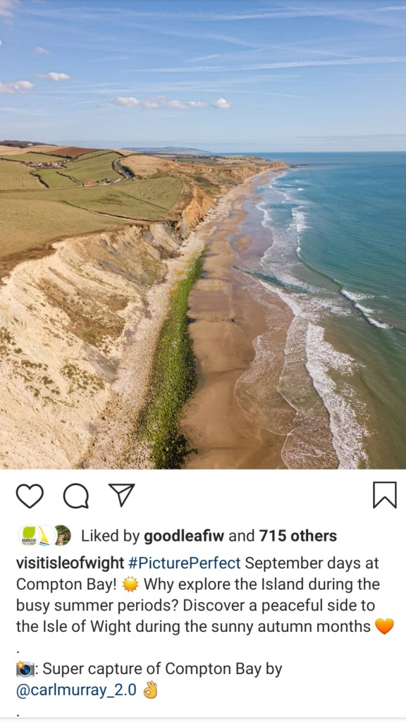 Instagram post - example image of an Visit Isle of Wight Instagram post of Compton Bay