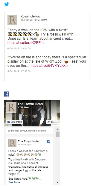 Social media bolt on - example image of the Royal Hotel's Twitter account
