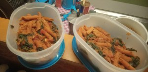 Red lentil pasta with spinach