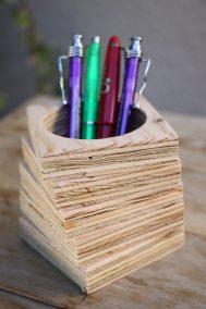 comment faire un pot a crayon en bois