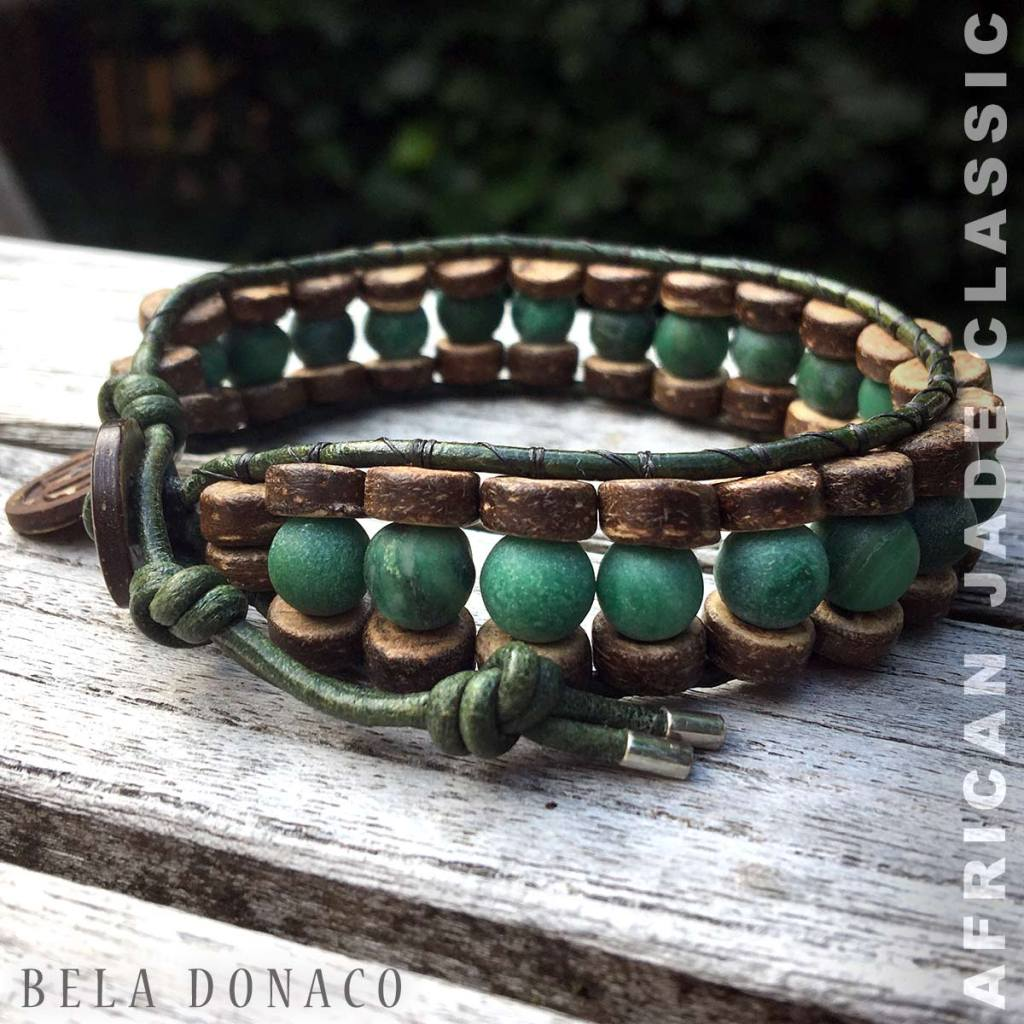 Bela Donaco Armband met Afrikaanse Jade, Kokos en leder