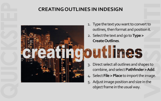 The five quick steps explaining how to put images inside text in InDesign using the create outlines function