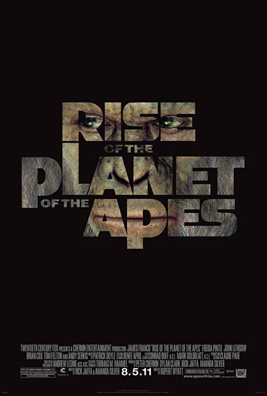 Poster for the first Planet of the Apes movie reboot (Rise of the Planet of the Apes) using one image inside title text.