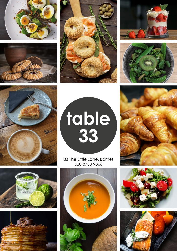 Flyer for Table 33 local cafe bistro restaurant.