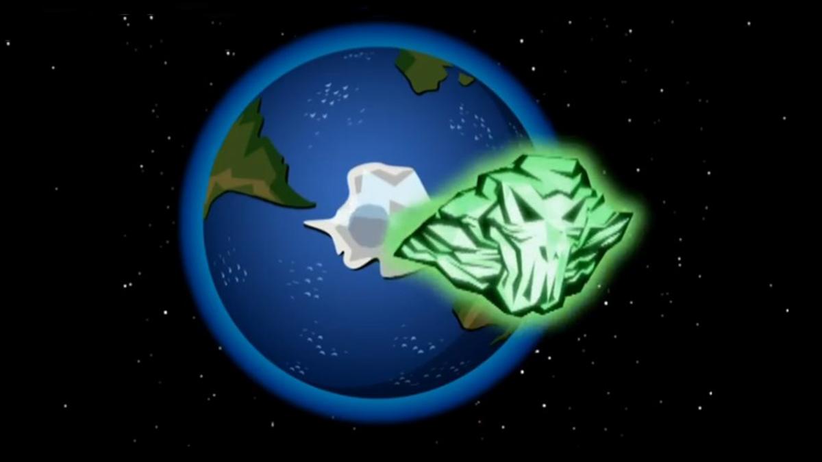 Ectoranium asteroid passing through an intangible Earth in Danny Phantom Phantom Planet (2007)