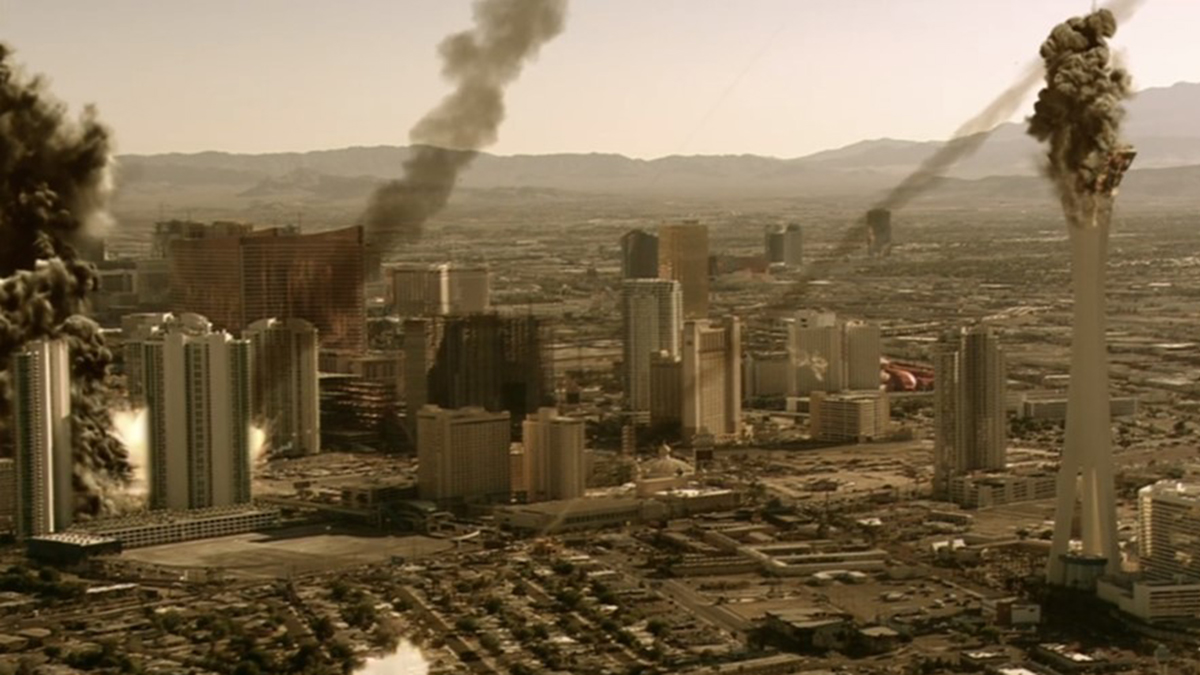 Scene from Meteor Apocalypse (2010) showing incoming meteors over a city.